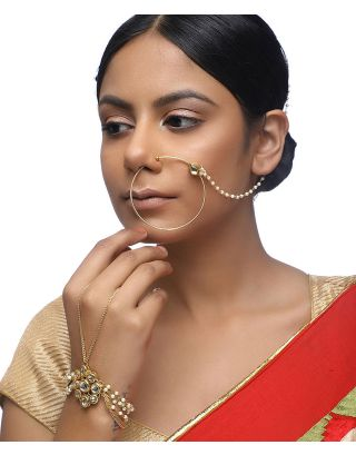 Kundan Naath and Bracelet Set