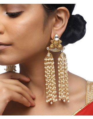 Pearl Long tassel Kundan Earrings