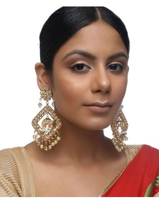 Kundan Floral Pearl Earrings