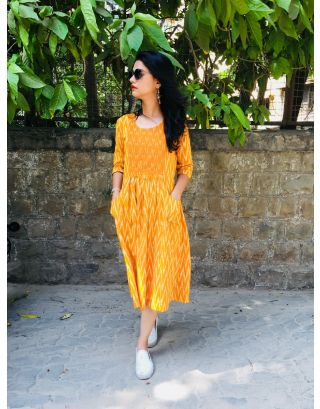 Mustard Handwoven Ikat Dress