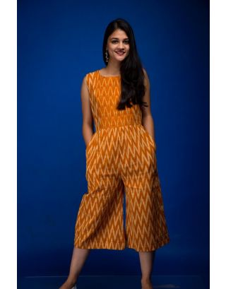 Mustard and White Ikat Jumpsuit