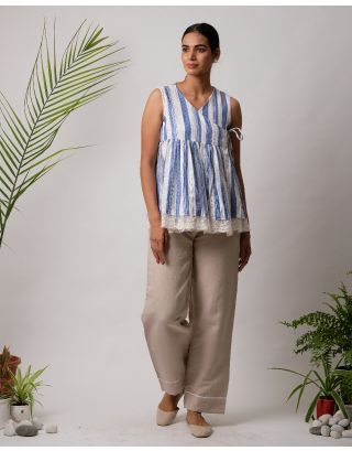 White and Blue Striped Angarkha Sleeveless Top