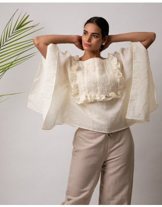 Cream Ruffle Lace Top