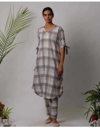 Grey Checkered Kurta Pants Set
