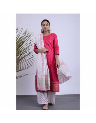 Pink and White Hand Printed Kurta Palazzo Set with Dupatta