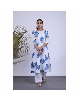 White and Blue Printed Kurta Pants Set