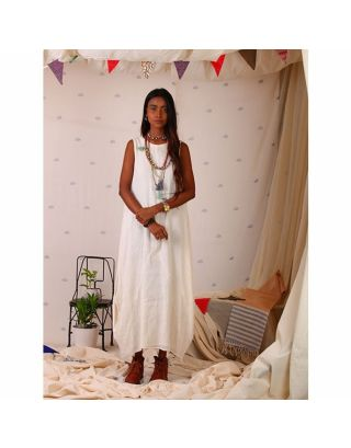 White Muslin Maxi with Side Cowls