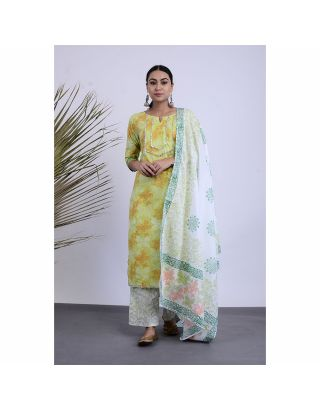 Green Printed Kurta Pants Set with Dupatta
