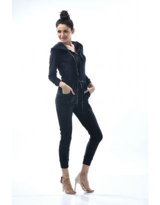 Black Plush Velour Jumpsuit