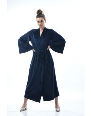 Space Blue Lounging Velour Robe