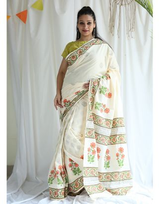Peach Floral Printed Cotton Saree