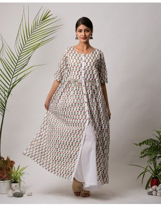 White Floral Hand Block Printed Long Dress
