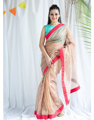 Peach and Pink Striped Tissue Silk Sarees