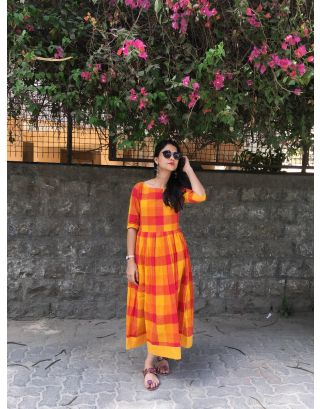 Orange Ikat Checkered Dress