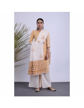 Orange Printed Kurta Palazzo Set with Dupatta