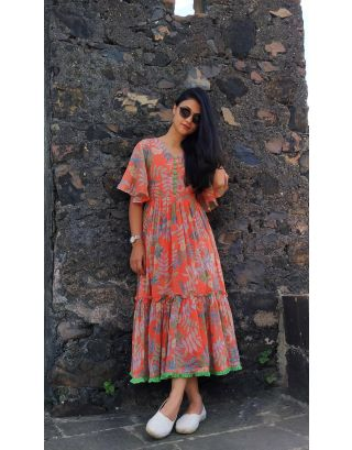 Orange Tropical Maxi Dress