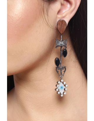 Oxidised Trident Charms Earrings