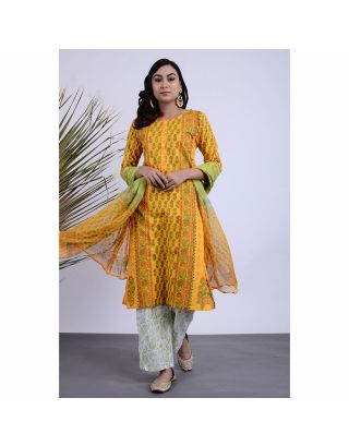 Yellow Printed Kurta Pants Set with Dupatta