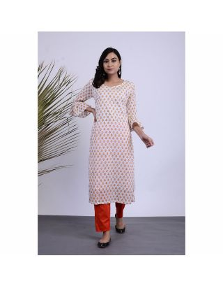 Yellow and White Hand Printed Kurta Pants Set