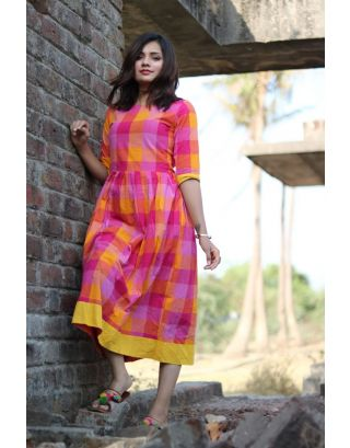 Pink and Yellow Checkered Dress