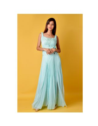 Mint Blue Pleated Gown