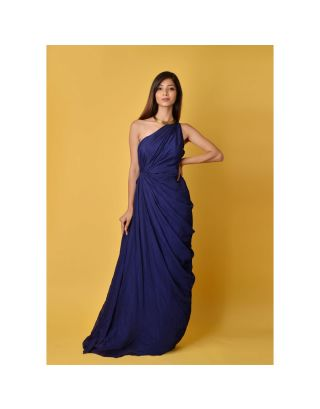 Navy Blue Gown with Sequin Inner