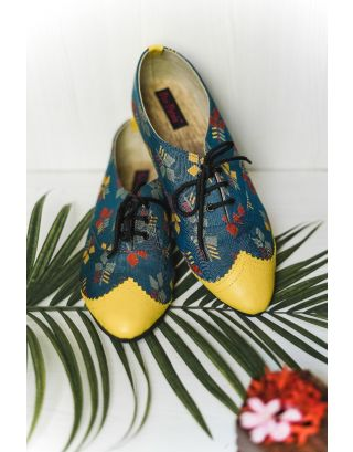 Dual Textured Printed Oxfords Shoes