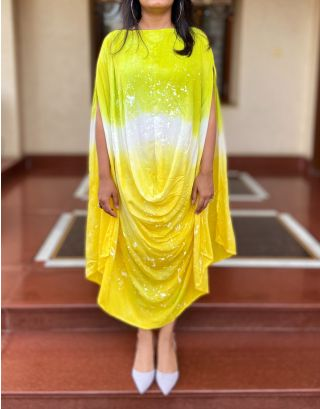 Yellow Green Shaded Cowl Dress