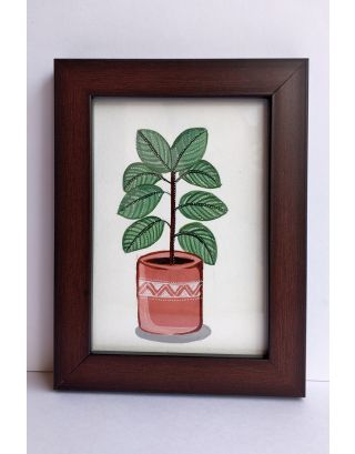 Burnt umber coloured pot with rubber plant painting