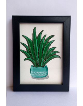 Turquoise green coloured pot with plant painting