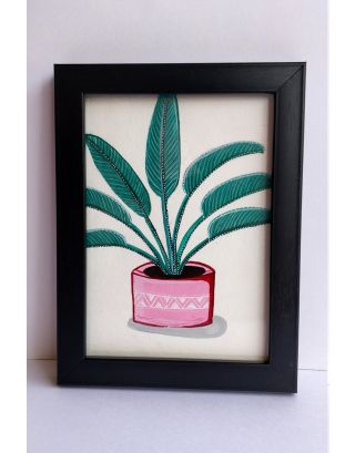 Coral blush coloured pot with banana leaf painting