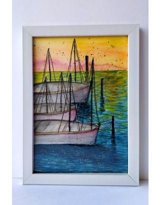 Sale into the sunset Watercolour painting