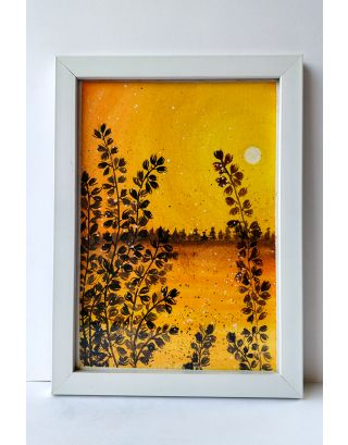 Sunset serene silhouettes Watercolour painting