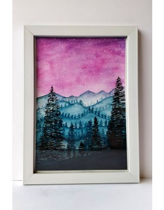 Magical treescape & mountains Watercolour painting