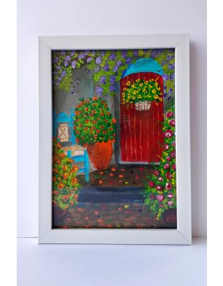 Door with rose bush in spain Acrylic painting