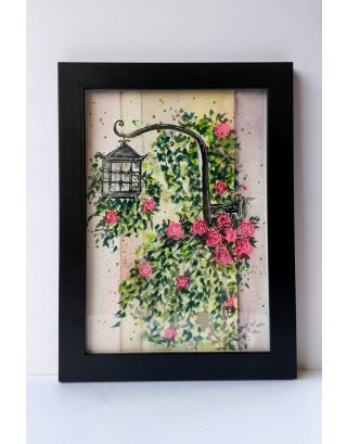 Street lantern surronded by florals Watercolour painting