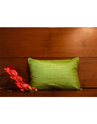 Parrot Green Pure Silk Cushion Cover