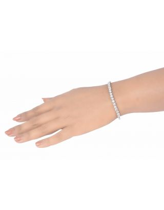 Round Solitaire Silver Bracelet
