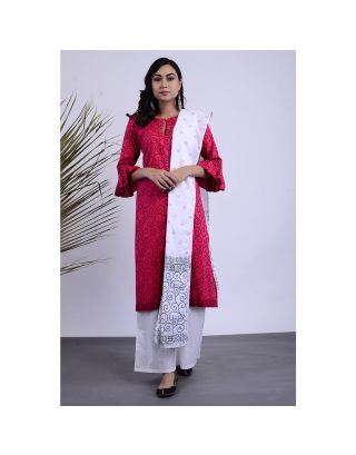 Pink and White Kurta Palazzo Set with Dupatta