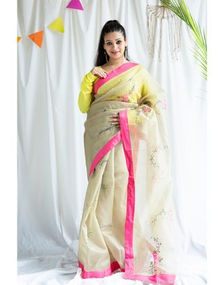 Beige and Pink Handpainted Saree