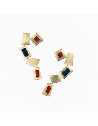 Red and Blue Gold Earrings