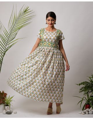 White Hand Block Printed Long Dress