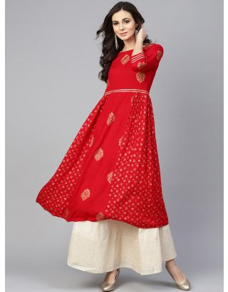 Red and Golden Printed A-Line Kurta