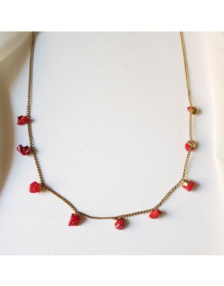 Red Drop Minimal Necklace Set