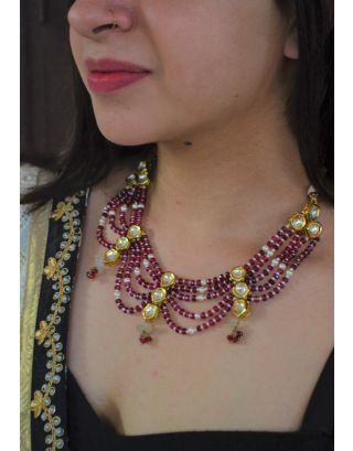 Red Jades and Polki Choker Set With Studs