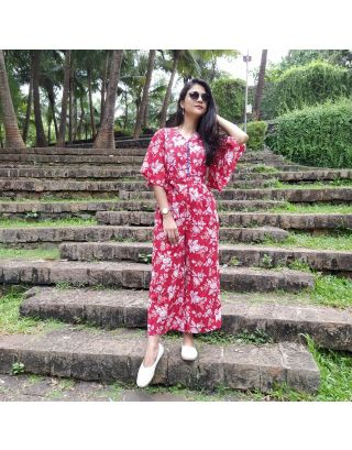 Red Jaipuri Jumpsuit