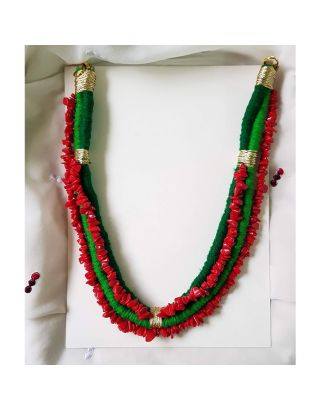 Red and Green Thread Stone Necklace