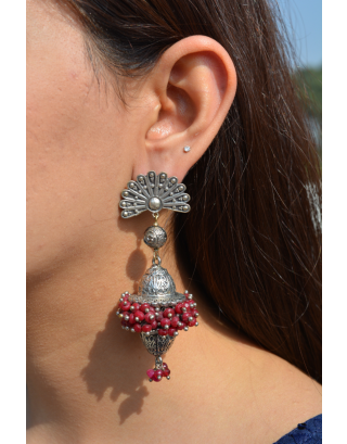 Red Pakhawaj Dholki Earrings