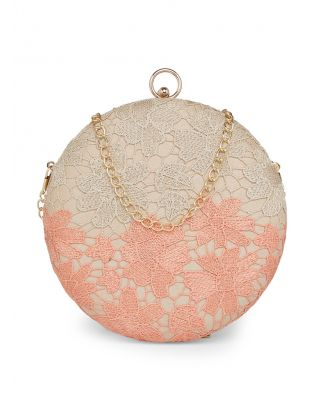 Peach and Gold Lace Clutch