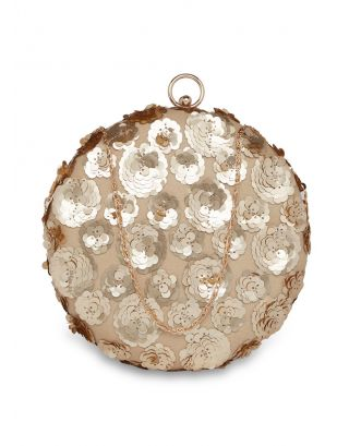 Gold Flowers Round Clutch